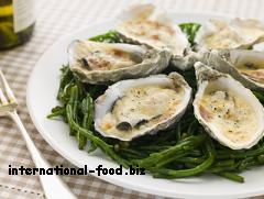 French Grilled Oyster with Mornay Sauce on Samphire
